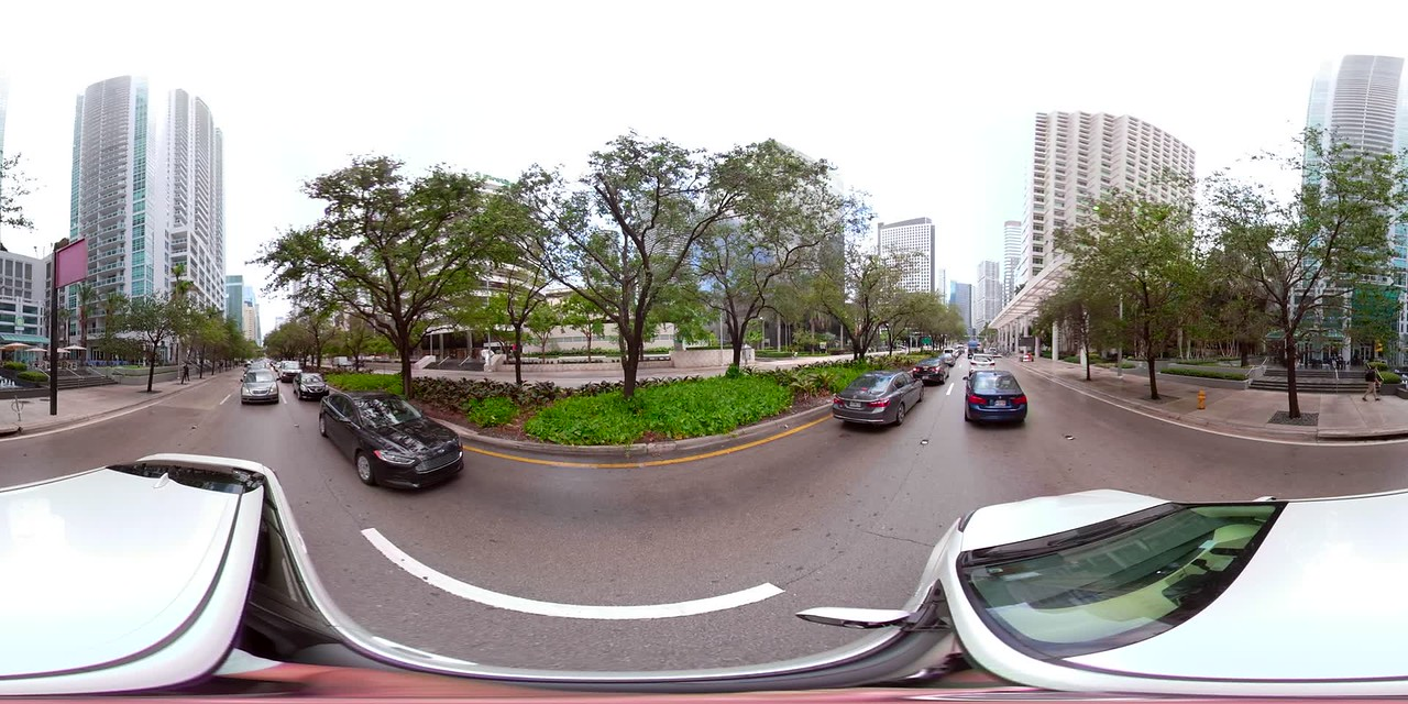 360vr spherical video driving plates Brickell Avenue Miami Florida