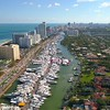 Drone shot Miami Beach during boat show 2018 4k 24p