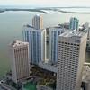 Aerial Downtown Miami River bayfront scene drone 4k