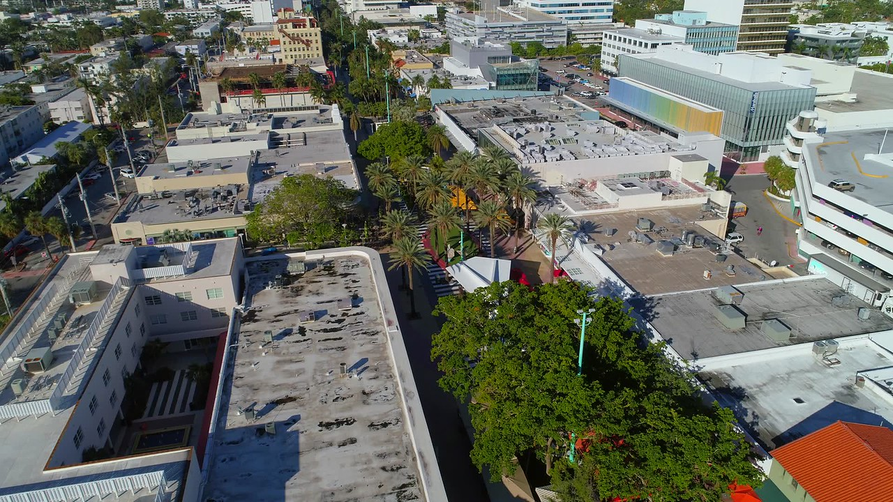 Slow drone aerial tour video Lincoln Road Miami Beach