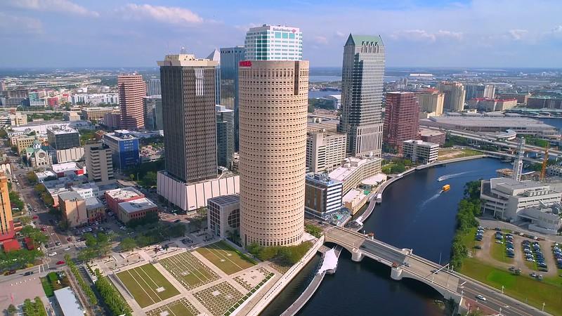 Aerial video Tampa greenway bike path on the riverwalk