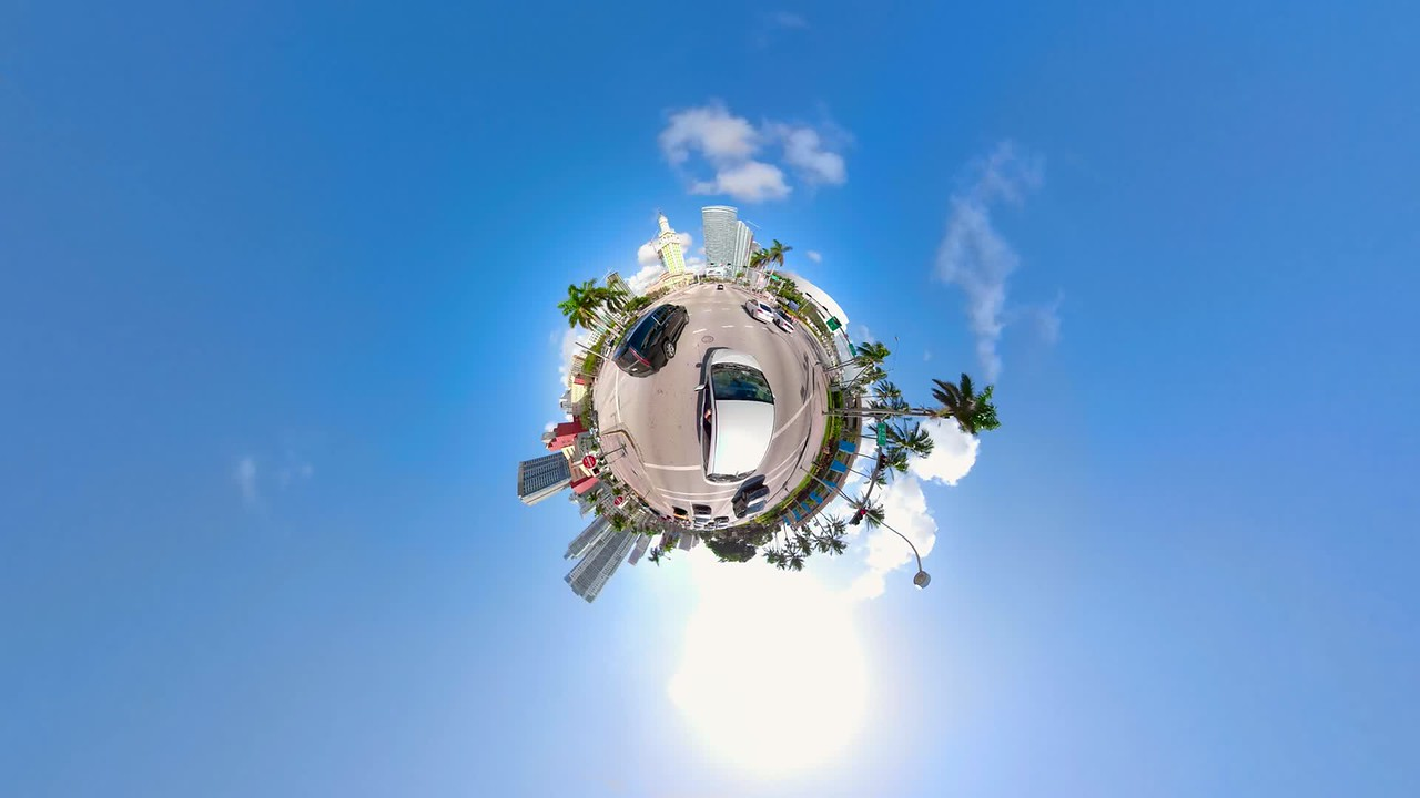 Special effects tiny planet stabilized motion driving