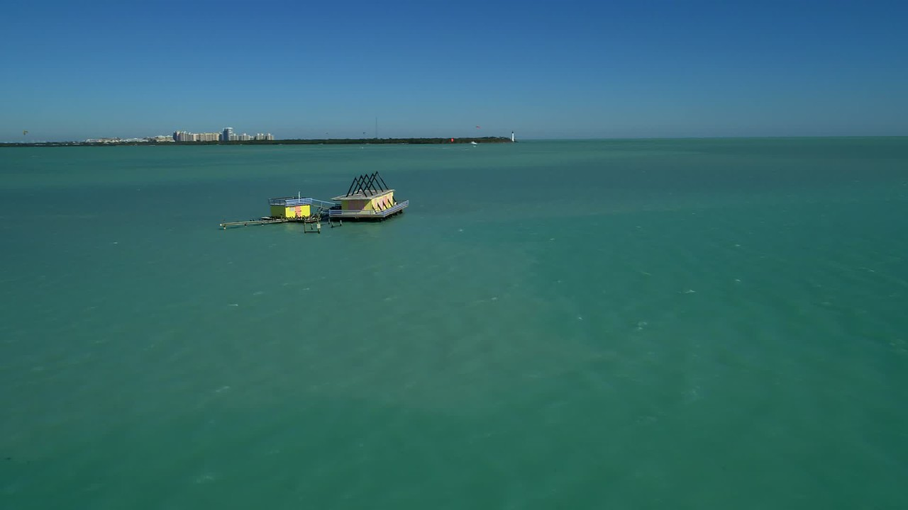 Aerial inspection house on stilts in the water Stiltsville Florida USA