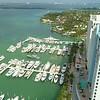 Aerial drone video yachts at a marina