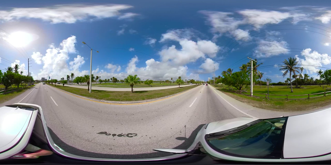 360vr motion footage driving through A1A Haulover Park Miami Dade