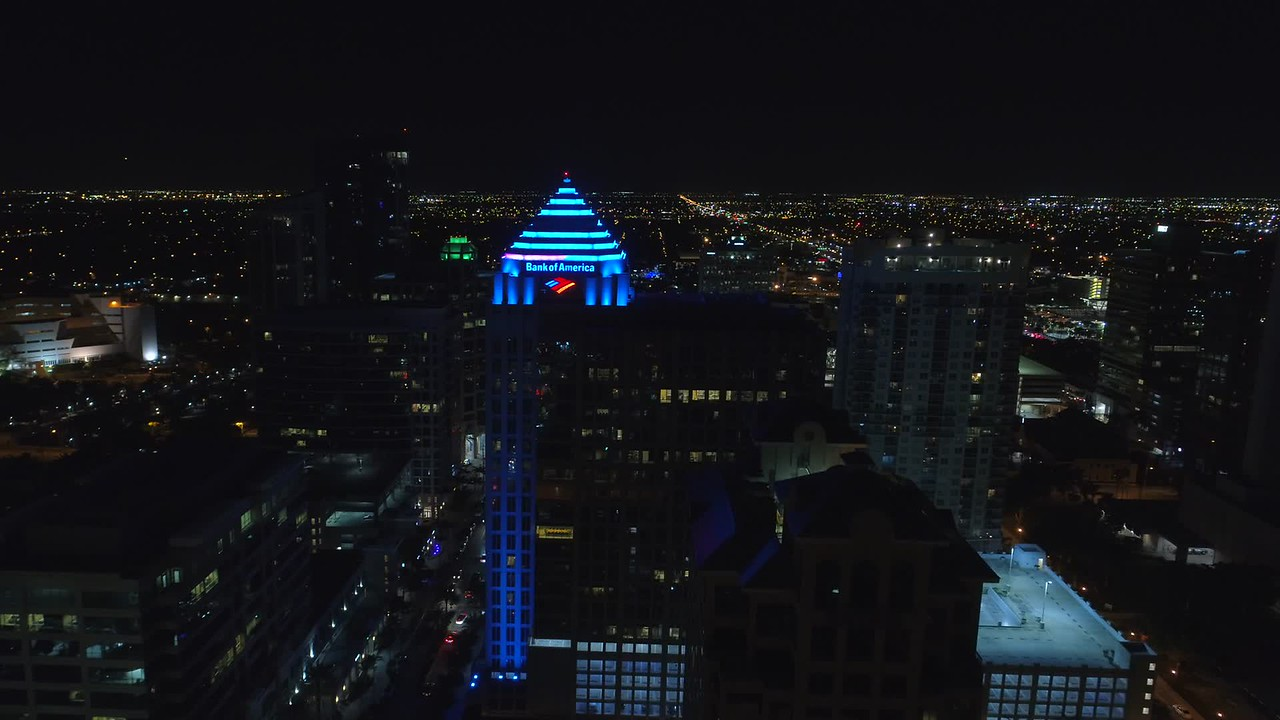 Cinematic flyover Bank of American building Downtown Fort Lauderdale FL drone aerial