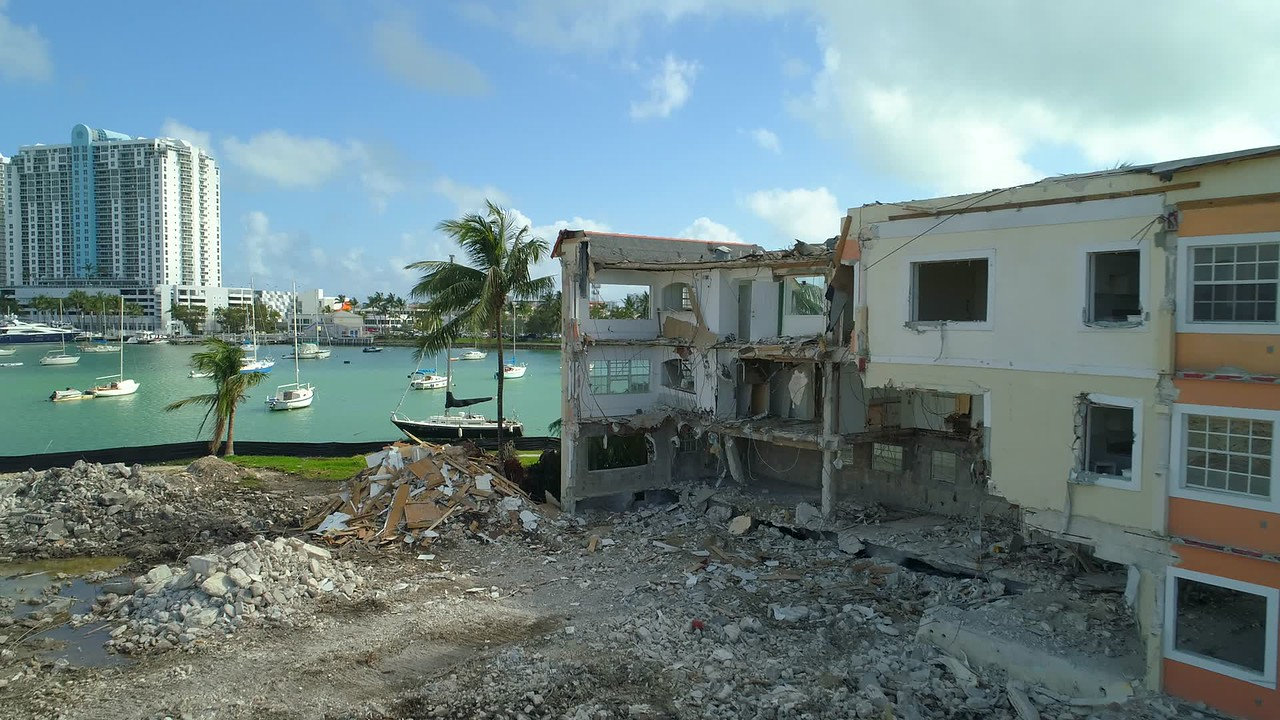 Apartment building rubble old real estate destruction Miami Beach Belle Isle Courts