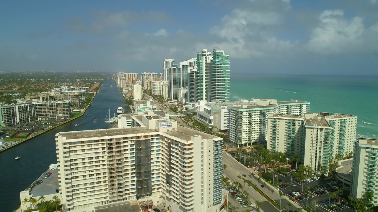 Aerial drone video hotels and resorts Hollywood Beach Florida