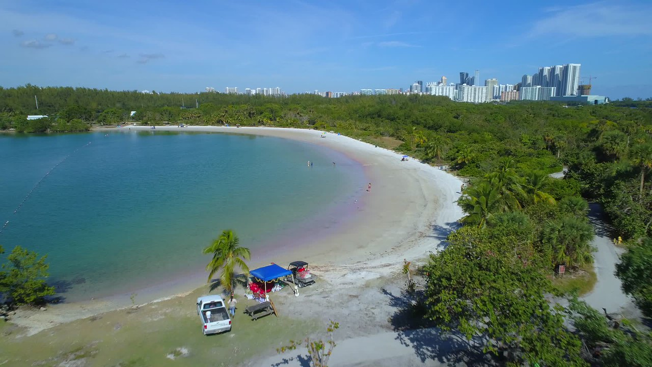 Oleta State Park beach and recreation area aerial drone footage 4k