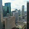 Drone flying between buildings Downtown Miami