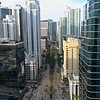 Low drone Brickell Mimi between buildings business district