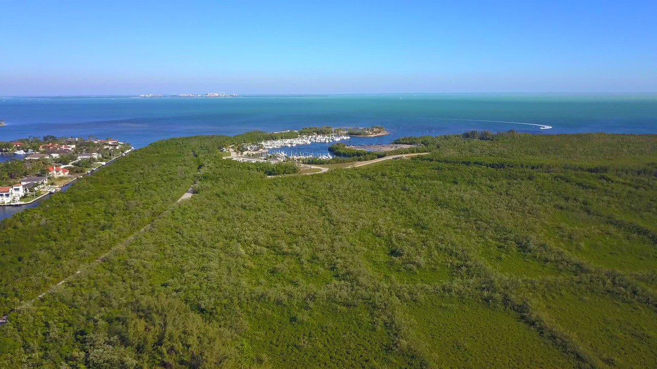 Aerial video nature landscape and marina