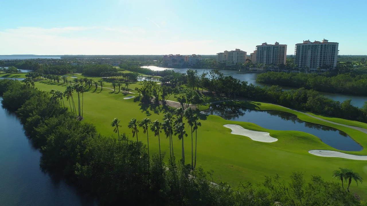 Aerial vieo golf course landscape 4k 24p