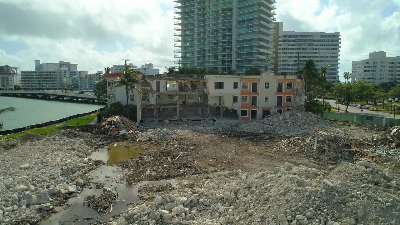 Aerial footage building destruction approach inspection