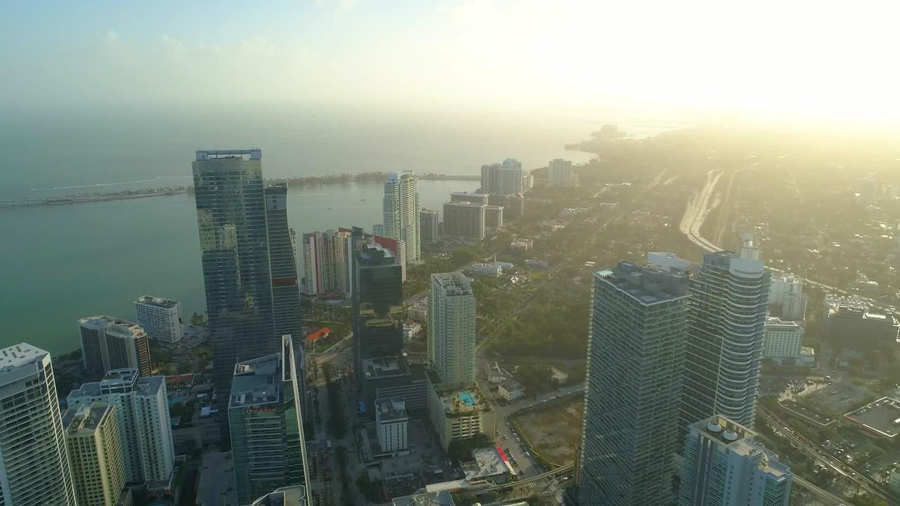 Aerial drone video sunset Brickell Miami Florida 4k 60p