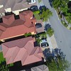 Aerial drone video footage residential neighbohrood overhead flyover