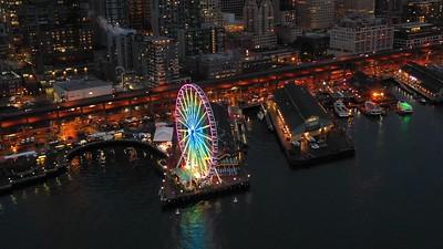 Seattle Great Wheel in motion night drone video 4k 30p