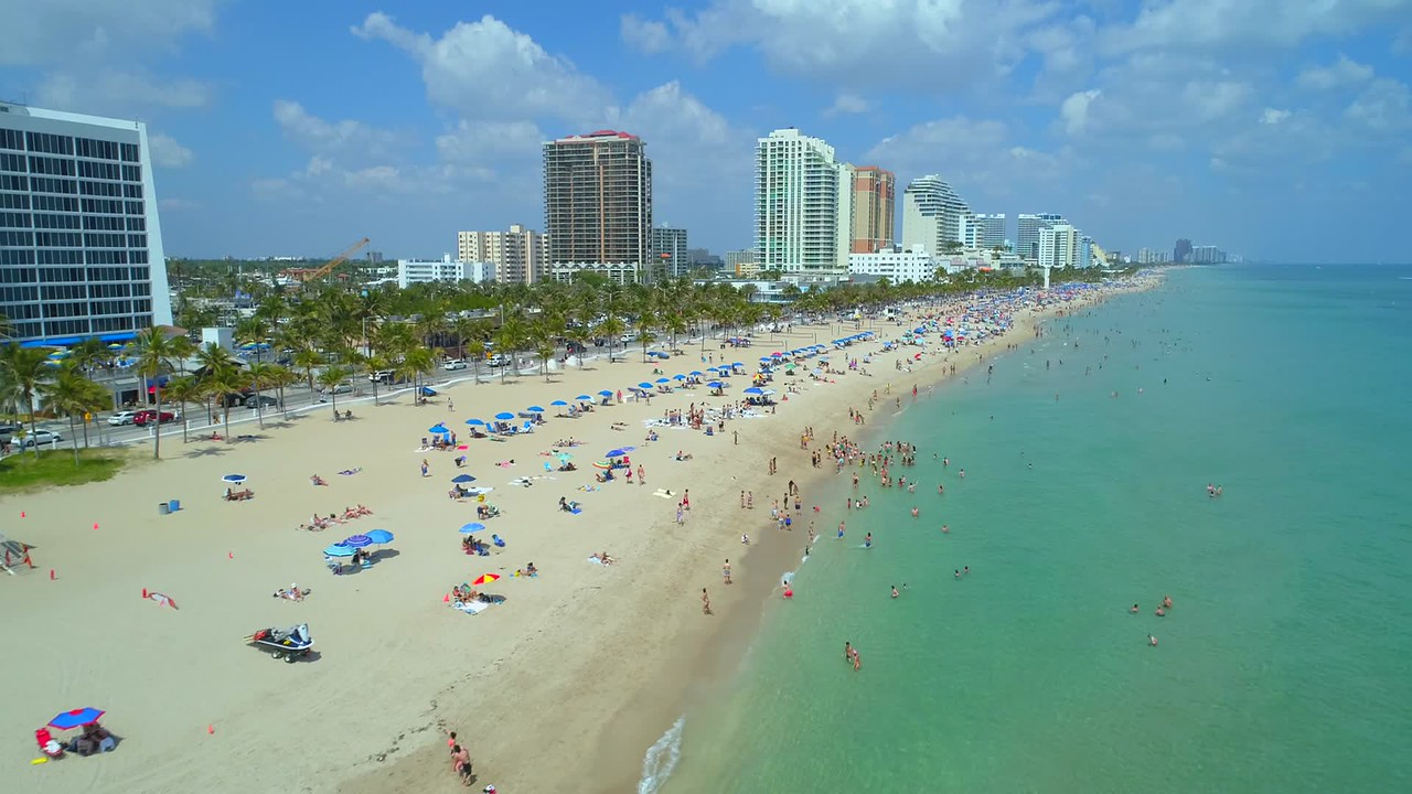 Drone Fort Lauderdale Beach Spring Break aerial video 4k 60p