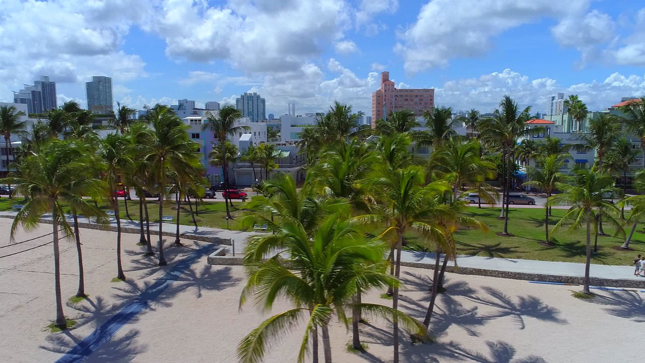 Aerial video Miami Beach palm trees and volleyball nets