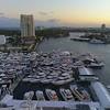 Aerial dusk shot Fort Lauderdale waterfront scene 4k