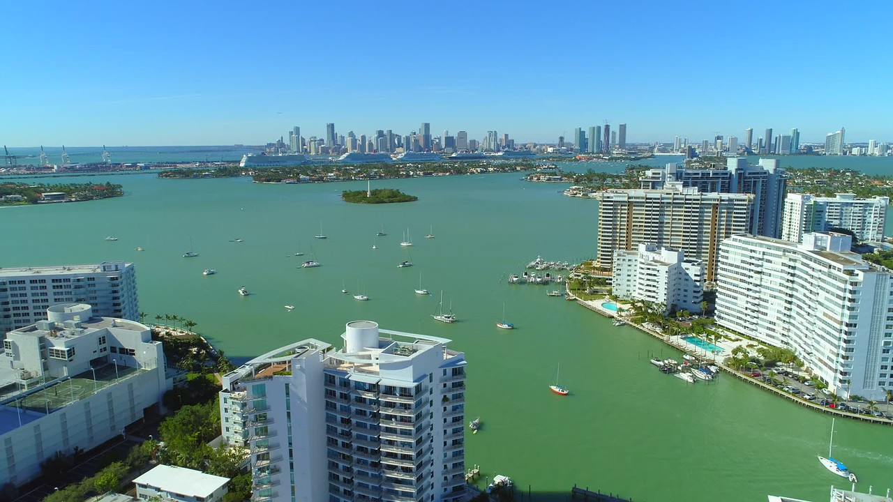 Commerical stock drone aerial video Miami Beach 4k 24p
