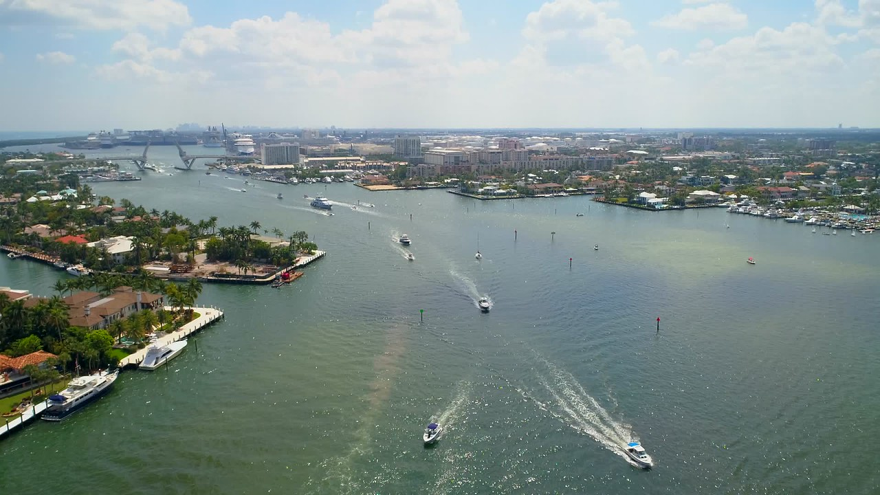 Aerial video Stranahan River Fort Lauderdale FL yachts port everglades 4k 60p