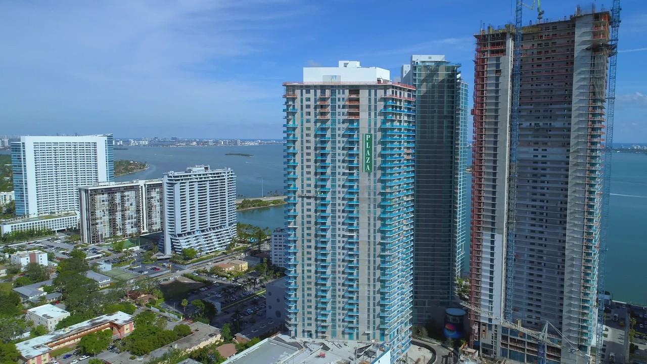 Aerial footage of edgewater Miami developments 4k