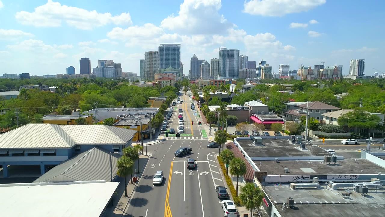 Las Olas Boulevard Fort Lauderdale Florida aerial drone footage 4k 60p