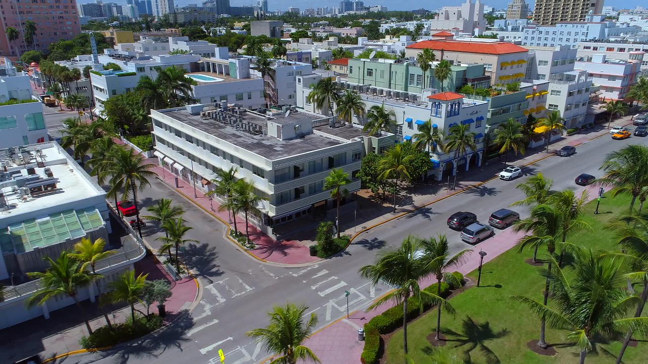 Aerial video Miami Beach Ocean Drive preparing fro Hurricane Irma