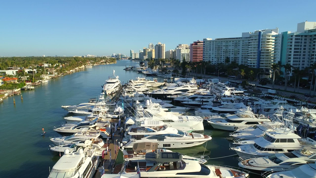 Drone footage yachts Miami Boat Show February 2018 4k 60p