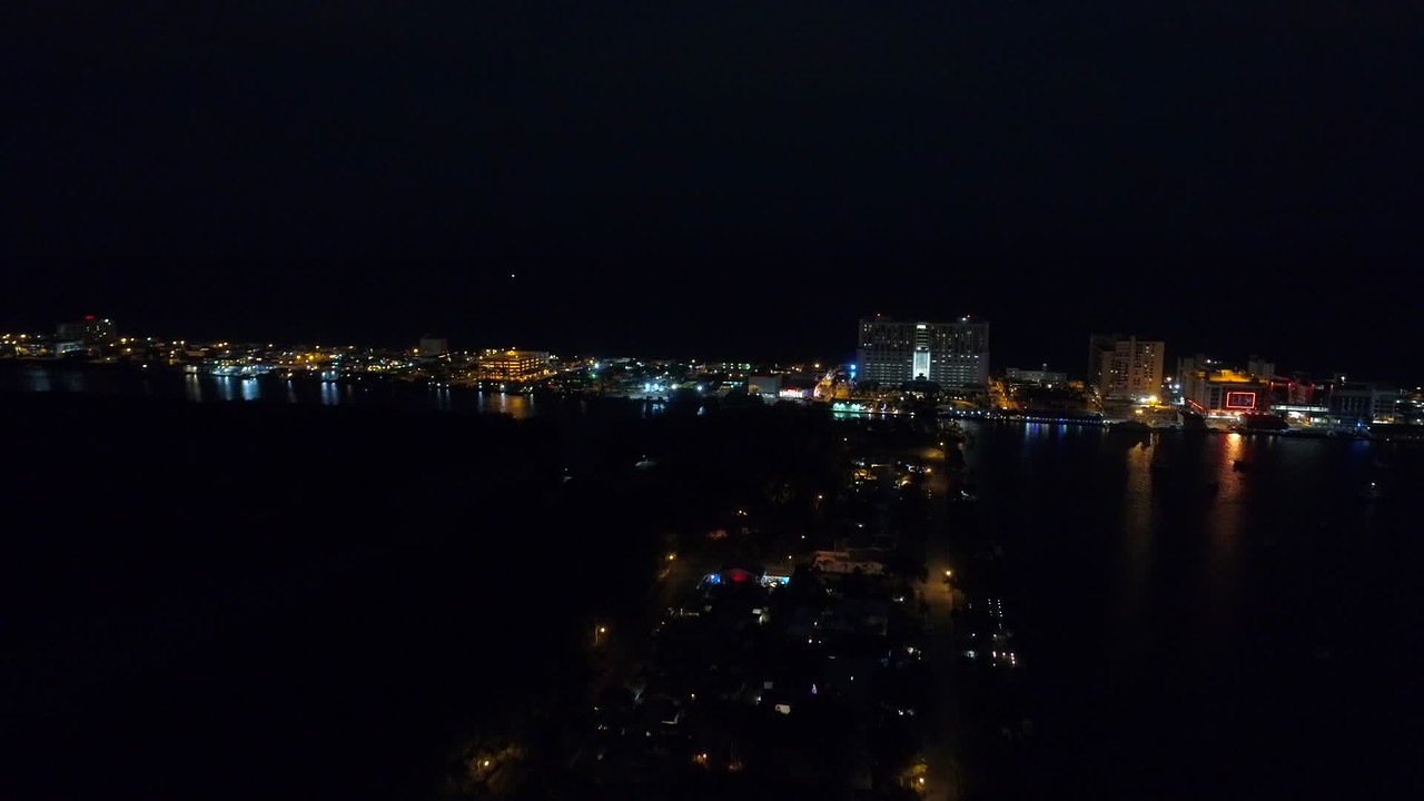 Aerial night video sped up approach Hollywood beach fl