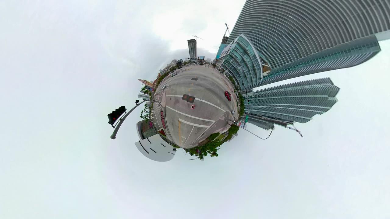 Miniature Planet motion video Downtown Miami Florida Museum Park