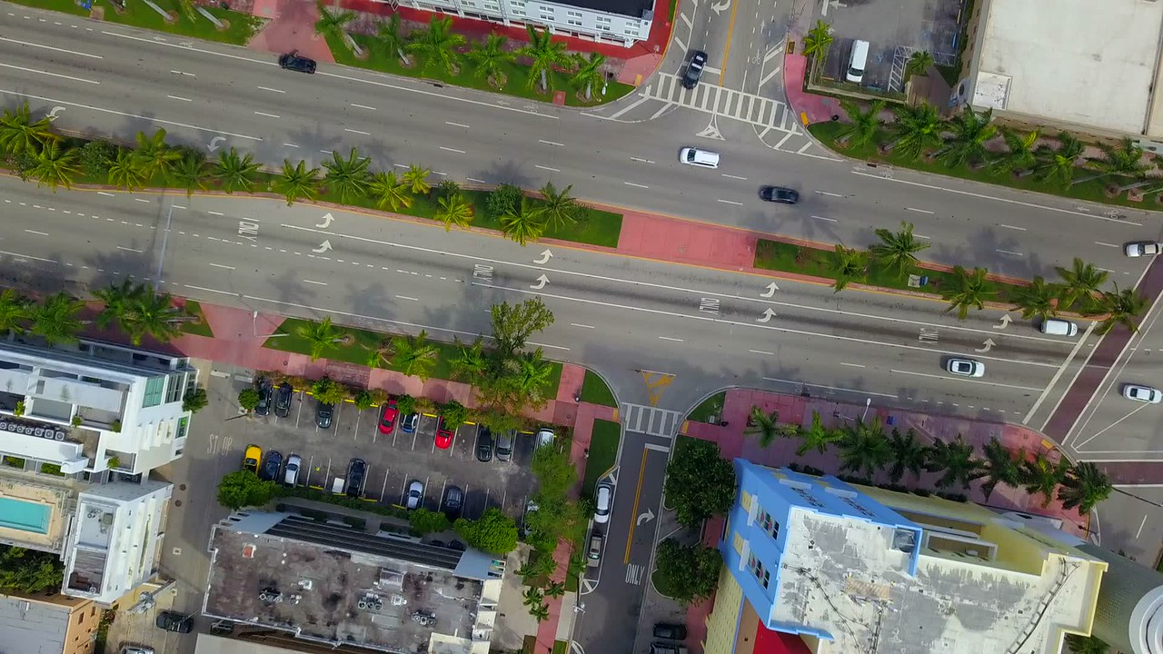 Drone facing down over miami Beach