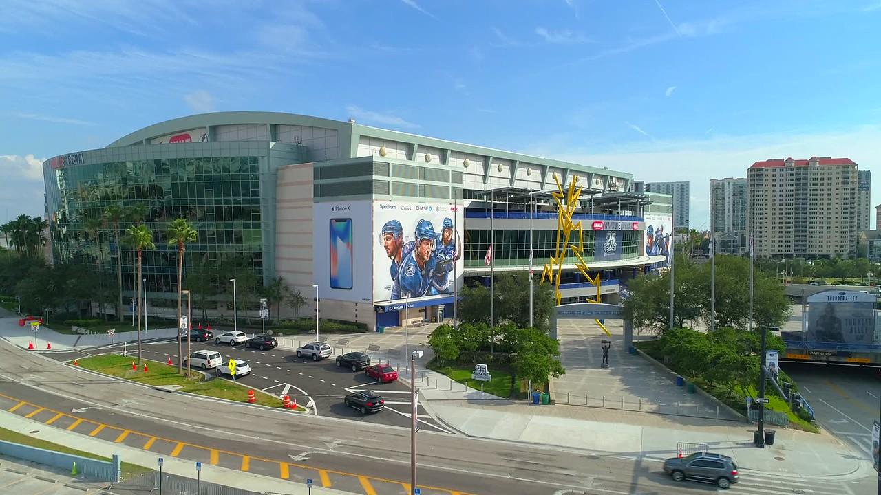 Aerial video Amalie Arena Stadium Tampa FL 4k 60p