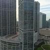 Aerial video highrise condominiums Brickell Miami FL