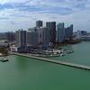 Aerial video Downtown Edgewater Miami marina harbor
