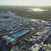Aerial view of the Fort Lauderdale Boat Show at sunset