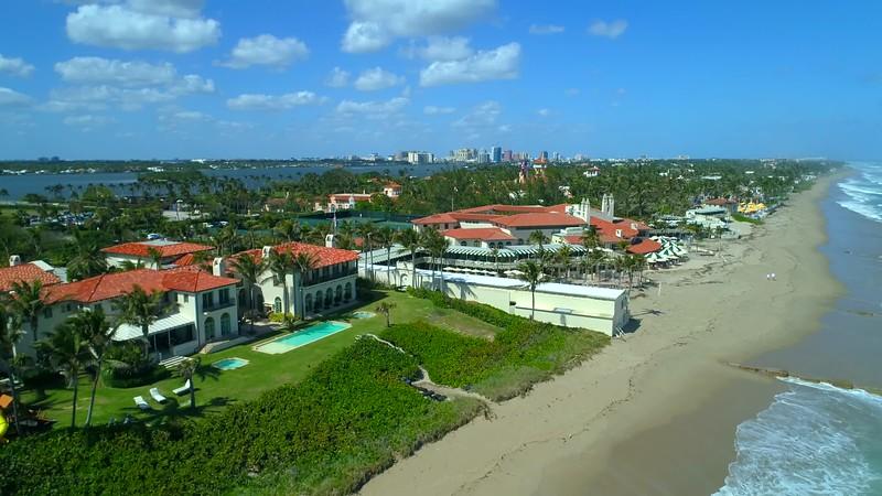 Aerial video Mar A Lago Bath and Tennis Club 4k 60p Palm Beach Florida