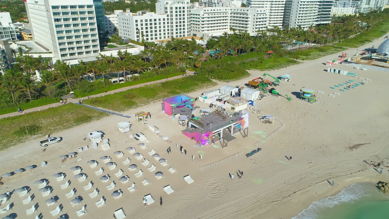 Aerial shot Miami Beach Art Basel 2017 venues on the sand