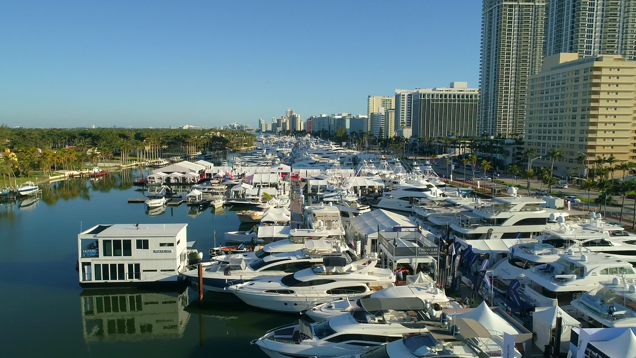 Drone slow motion slowmo video Miami Beach boat show 4k