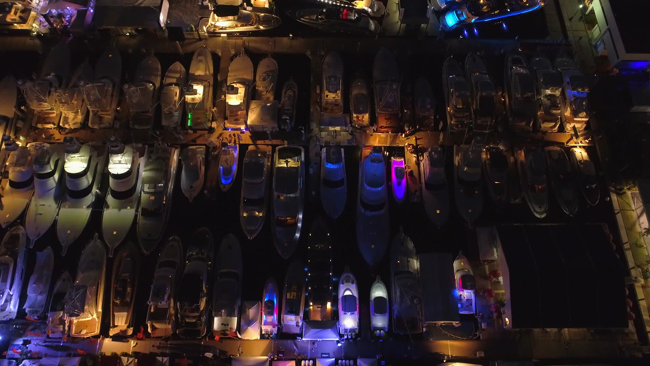 Overhead aerial video yachts Fort Lauderdale boat show 4k night drone