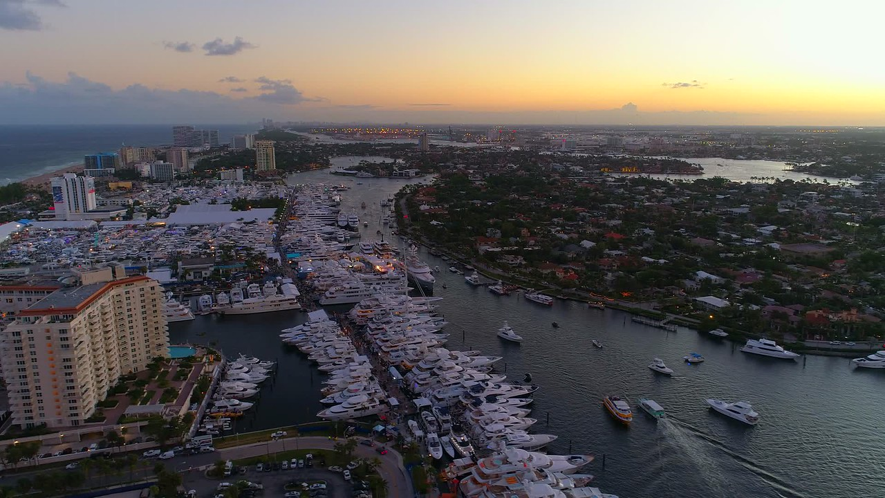 Twilight aerial Fort Lauderdale boat show 4k