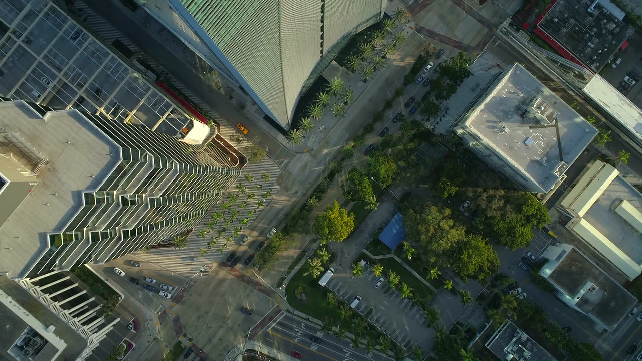Aerial Brickell Avenue arch building business district