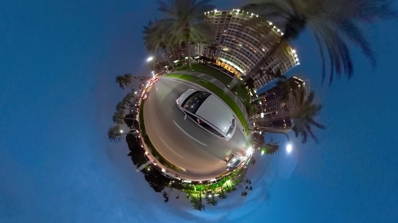 Driving through Bal Harbour Miami Florida tiny planet 360 video