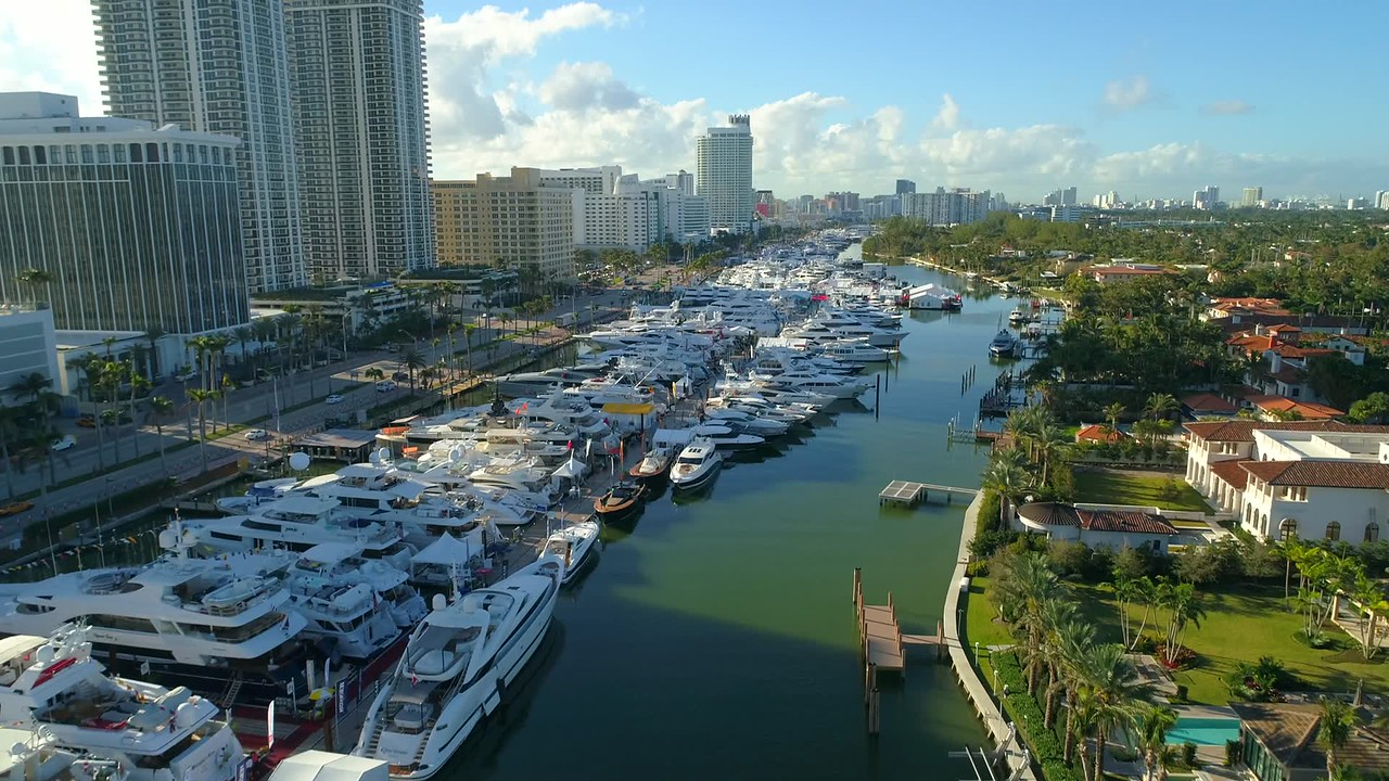 Miami Beach Boat Show drone 4k video stock footage