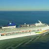 Cruise ship departure aerial drone video 4k 24p