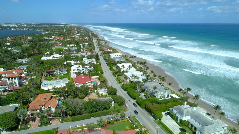 Aerial video luxury mansions Palm Beach FL USA 4k