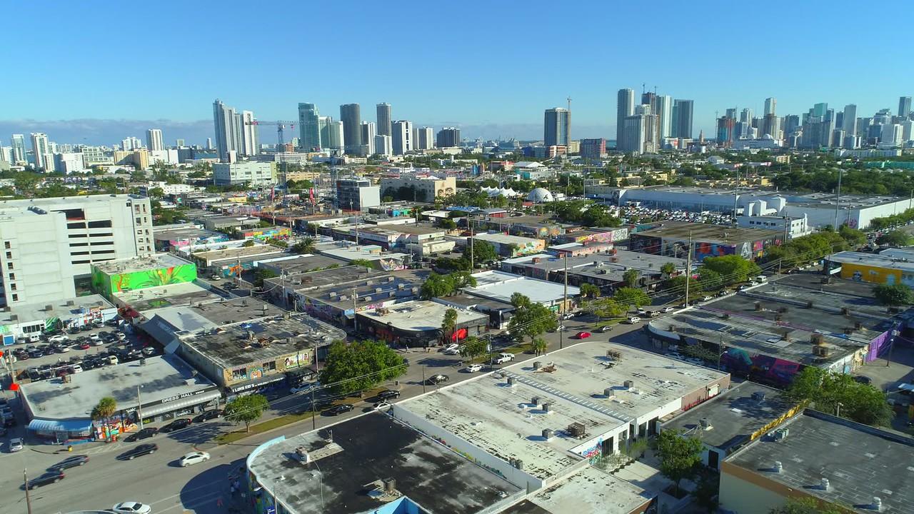Aerial drone footage hipster scene at Wynwood Miami FL 4k 24p