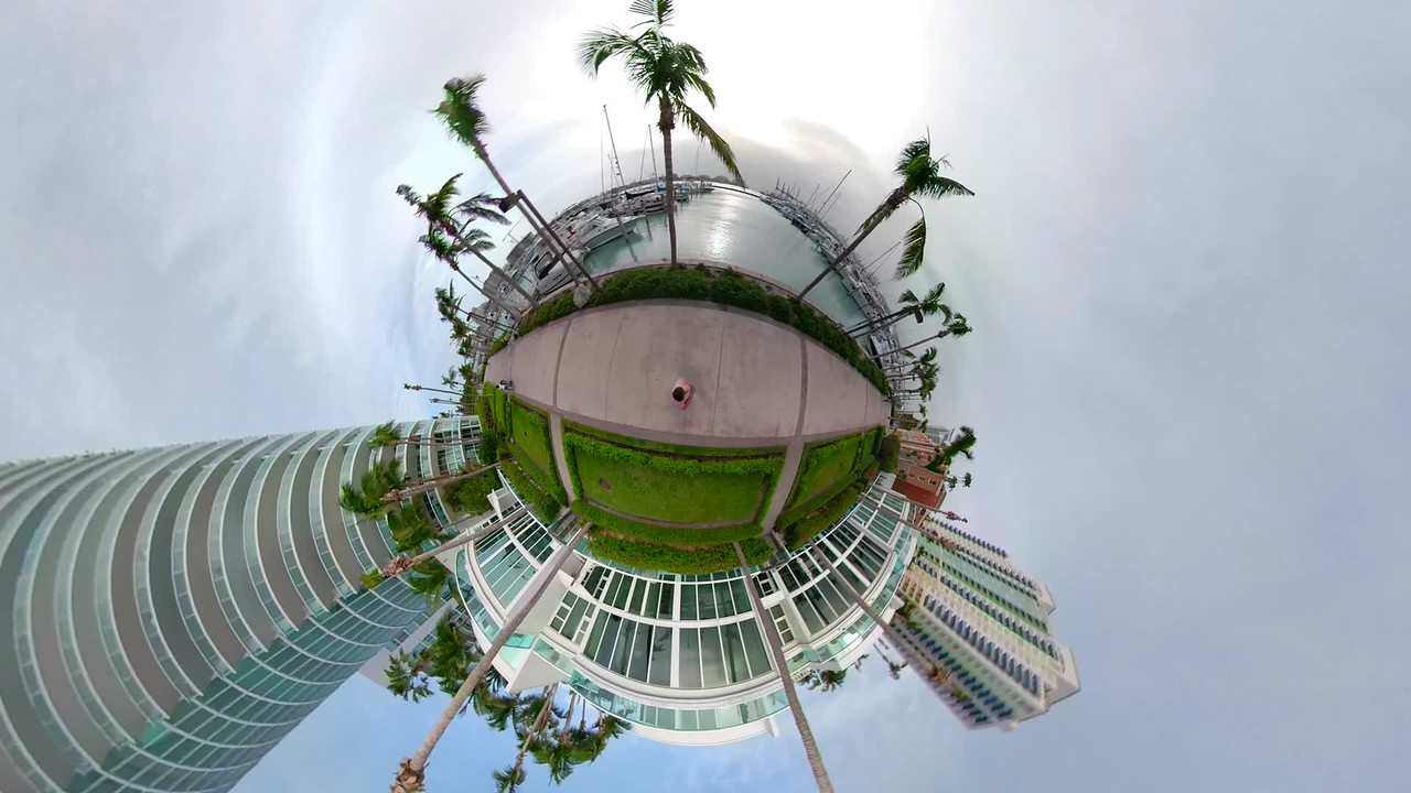 Motion footage tiny planet Miami Beach Marina Florida USA