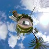 Tiny planet with super tall skyscrapers